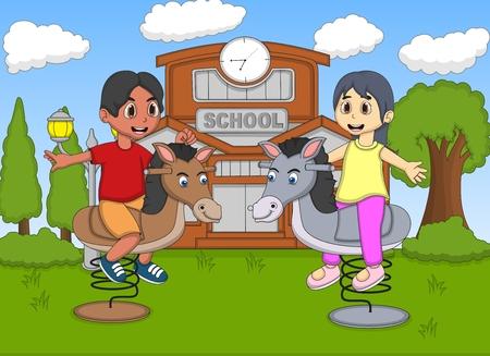 cartoon school girl: Boy and girl playing rocking horse at the school cartoon