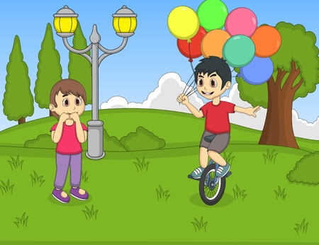 baloon: A boy playing unicycle and holding baloon in front of a girl at the park cartoon Illustration