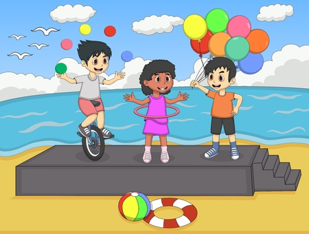 Children playing at the beach in the summer cartoon Illustration