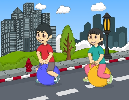 bouncing: Children playing bouncing ball in the street Illustration