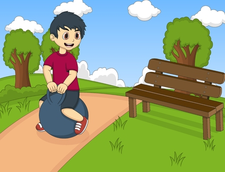 bouncing: Boy playing bouncing ball in the park cartoon