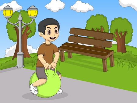 bouncing: Children playing bouncing ball and unicycle in the street cartoon Illustration