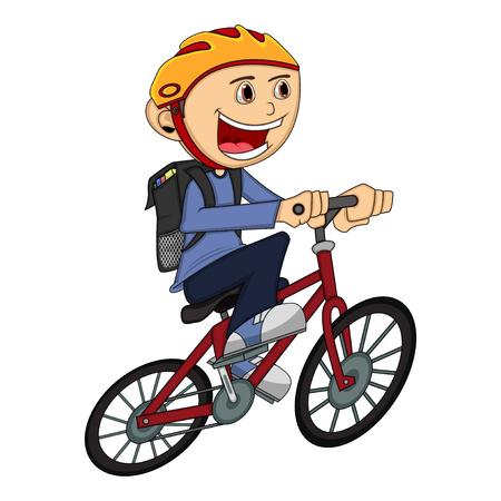 자전거 만화 소년 벡터 (일러스트)