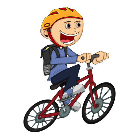 zapatos caricatura: Muchacho en una historieta de la bicicleta