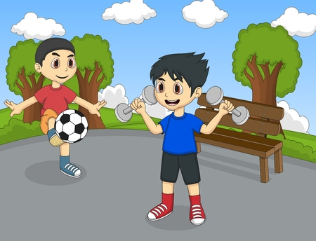 family park: Children playing in the park cartoon Illustration