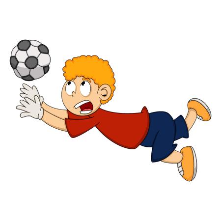 Goalkeeper catch the ball cartoon