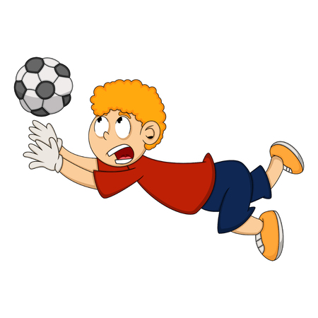 goalkeeper: Goalkeeper catch the ball cartoon Illustration