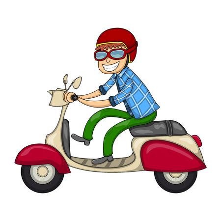 A man riding a scooter cartoon