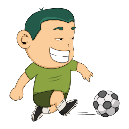 playing soccer: A boy playing soccer cartoon