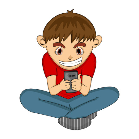 boy at phone: Boy playing with mobile phone cartoon