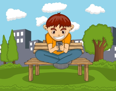 boy at phone: Boy playing with mobile phone with city background