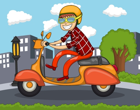 A man riding a scooter with city background cartoon
