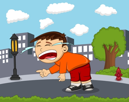 teary: The boy is Crying on the road with city background cartoon