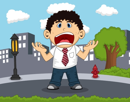 road rage: An employee screaming on the road with city background cartoon