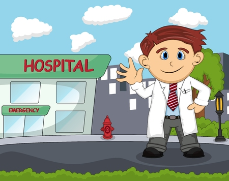 A doctor standing in front of hospital with city background cartoon Illustration