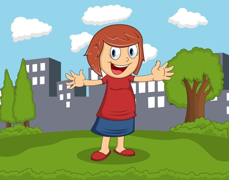 Girl standing in the park with city background cartoon