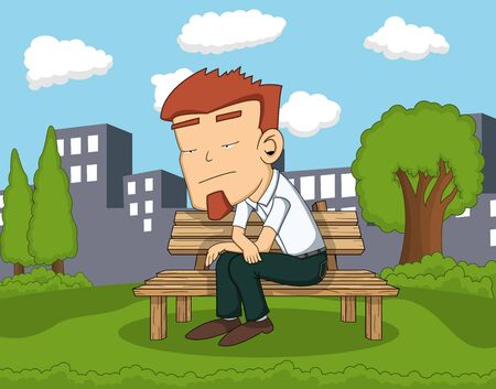 bench alone: Man sitting on the park with city background cartoon Illustration