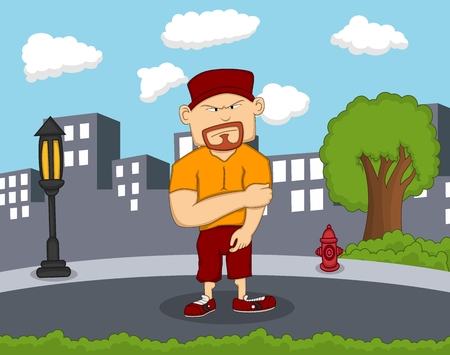 power giant: Big man cartoon standing on the street with city background