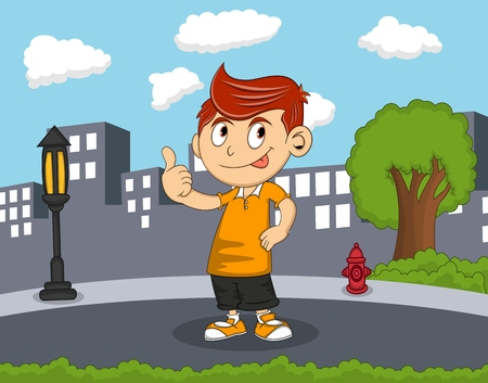Boy give a thumb up standing on the street with city background cartoon