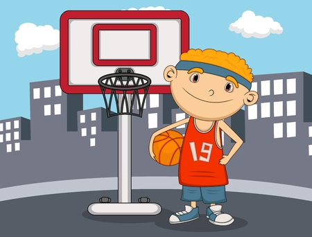 boy basketball: Boy Basketball player with city background cartoon