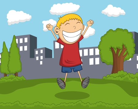 Cute boy jump in the park with city background cartoon