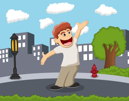 crazy hair: Happy and smiling boy standing on the street with city background cartoon
