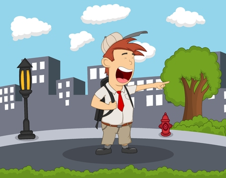 Student standing and laughing on the street with city background cartoon Illustration
