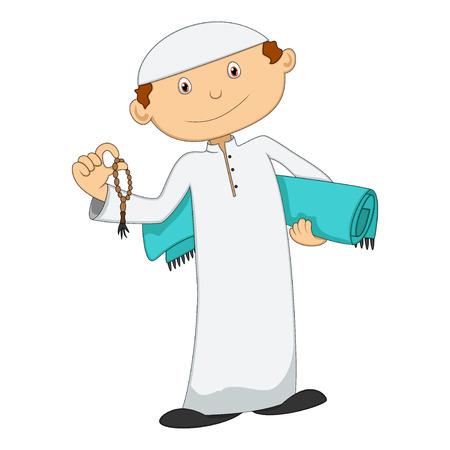 pilgrim costume: Muslim Man with prayer beads Stock Photo