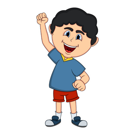 Boy raised his hand cartoon