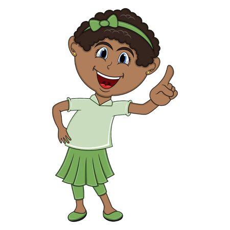 dashing: Beautiful little girl pointing her finger cartoon