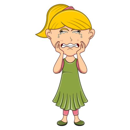 Crying girl cartoon