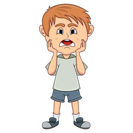 Little boy sad cartoon Stock Photo
