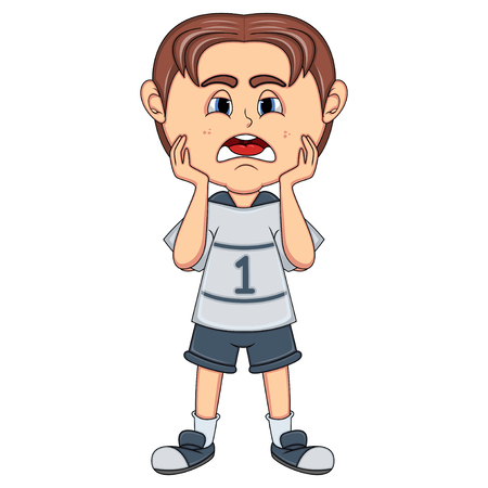 niño pequeño triste de dibujos animados Foto de archivo