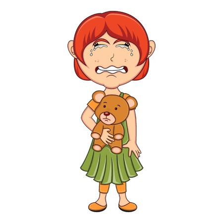 Little girl hold a bear and cry cartoon