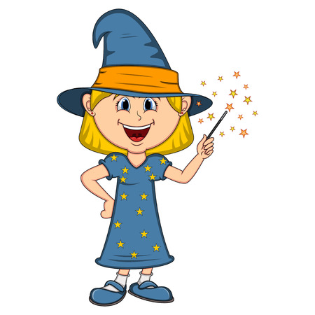 Funny witch, girl with halloween outfit cartoon