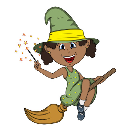 Beautiful funny witch fly with broom and stick for halloween cartoon Illustration