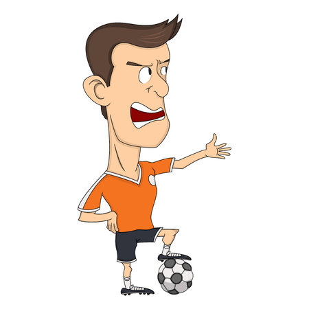 dribbling: Soccer player referee cartoon Illustration