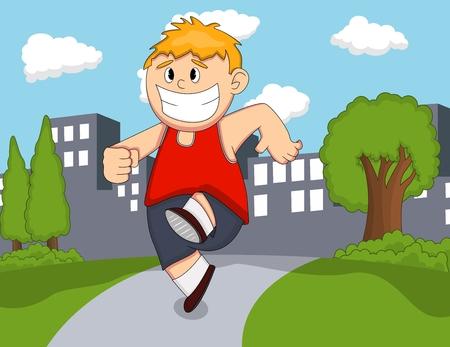 Un niño corriendo en el parque de dibujos animados Ilustración de vector