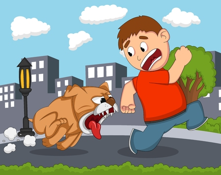 The little boy was chased by a fierce dog with city background cartoon Ilustração