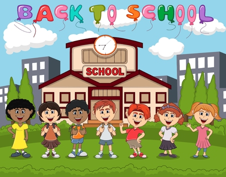 Students in front of school with balloon back to school cartoon