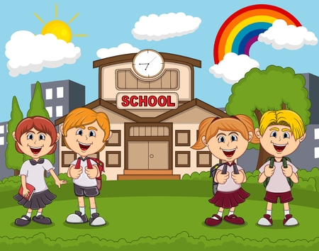 Students in front of school cartoon