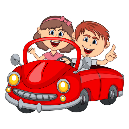 Car and a couple young passengers cartoon Illustration