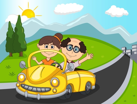 Car, a couple old passengers with hill, mountain and road background cartoon