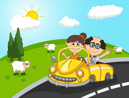 Car, a couple old passengers, Hill and sheep background cartoon