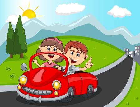 Car, a couple young passengers with hill, mountain and road background cartoon