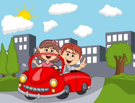 Car and a couple young passengers with city background cartoon