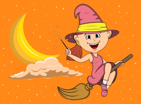 Halloween background with witches flying using broom stick cartoon Illustration