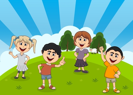 Children playing at the park cartoon
