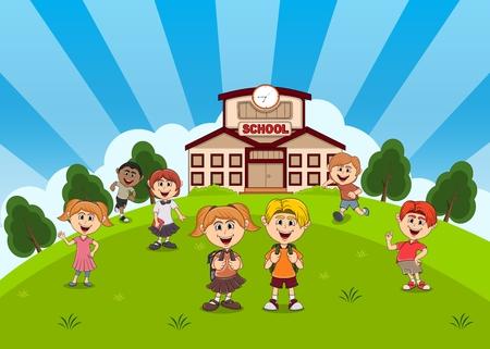 Students in front of school back to school cartoon