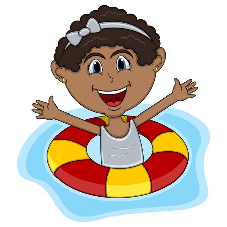 Girls swimming cartoon